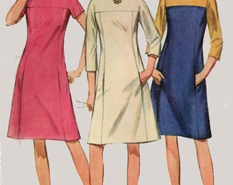1960s ColorBlock Dress  Simplicity 7196 Vintage 60s  MOD MAD MEN Sewing Pattern Womens Size 12 Bust 32