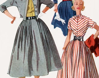 1950s Dress w/ Full Skirt and Matching Jacket Simplicity 4207 Vintage 50s ROCKABILLY Sewing Pattern Size 12 Bust 30 UNCUT