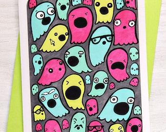 Halloween Card Ghosts - Happy Halloween Notecard