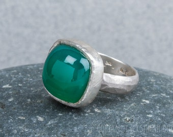 Green Onyx Ring in Sterling Silver, square, rustic, cushion cut, chubby bezel
