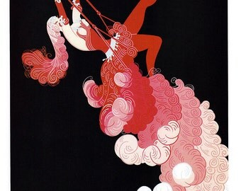 Vintage Erte Illustrated Print - At The Theater Trapeze & Spring Shadows - Color Plate