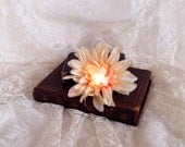 Pink light up hair flower - glow in the dark flower fascinator - LED hair flower clip - ivory dahlia with pink LED