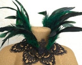 Maleficent choker - green and black feather necklace - goth Victorian choker - metal-free jewelry - feather ruff jewelry - coque crown lace
