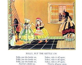 Polly, Put the Kettle On - Mother Goose Rhyme - 1944 Vintage Page 7.5 x 8