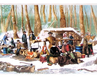 Small Currier and Ives Print - American Forest Scene - Maple Sugaring - 1980 Vintage Book Page