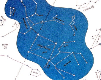 Stars Constellation Chart - Great Square, Andromeda, Pegaus, Triangle, Lizard - 1960's Vintage Print 8 x 11