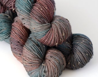Charybdis - Tweed Yarn - Hand Dyed Sock Yarn- Sea Green and Chocolate Brown - Greek Mythology