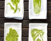 Set of 4 Green Vegetable Flour Sack Kitchen Towels