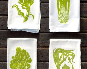 4GREENVEG: Set of 4 Green Vegetable Flour Sack Kitchen Towels