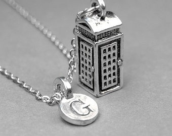 Phone Booth Necklace, personalized London phone booth charm, 3D silver plated pewter, initial necklace, initial hand stamped, monogram