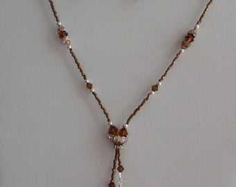 Simple Elegance Lariat Necklace in Topaz and Caramel