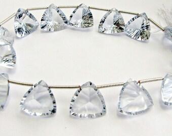 Pale Ice Blue Quartz Faceted Concave Triangle Briolette Gemstones 12mm - 13mm MATCHED PAIR (2 gems beads)