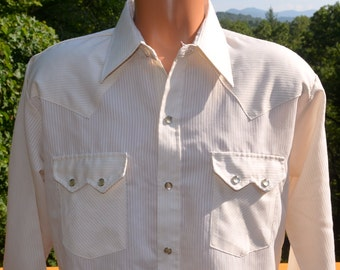 vintage 70s western shirt DEE CEE brand stripes double pearl snaps button down 60s Large rockstar off white ivory