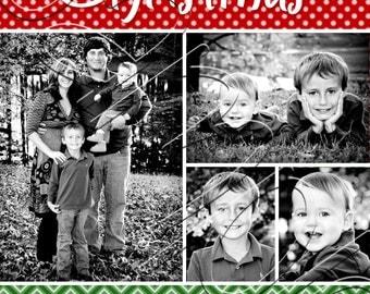 Polka Dot and Chevron Christmas Photo Collage Card