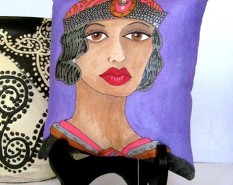 ALICE Art Deco PILLOW, hand painted pillow, deep purple, art deco hat, roaring twenties, Paris, NYC, rhinestones, gift for woman, coral
