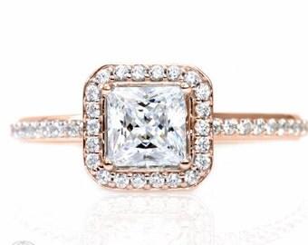 Rose Gold White Sapphire Engagement Ring Princess Diamond Halo Sapphire Ring 14K White Yellow Rose Gold Custom Engagement Ring
