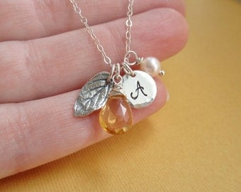 Personalized leaf necklace, sterling silver leaf charm, custom initial necklace, custom birthstone, autumn necklace, cursive monogram charm