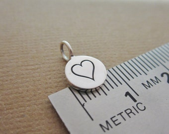 Heart charm, sterling silver heart, silver charm, .925 sterling silver, small charm, heart jewelry, add to any necklace