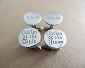 Wedding Cufflinks - Father of the Groom - Father of the Bride - Personalized Cufflinks - Wedding Jewelry