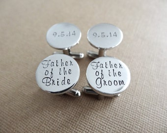 2 Sets of Cufflinks - Father of the Groom - Father of the Bride - Personalized Cufflinks - Wedding Jewelry