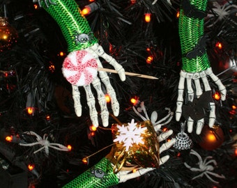 Skeleton hand Nightmare ornament collection set decoration christmas halloween horror green spider bat silver bell -- By Sisters of the Moon