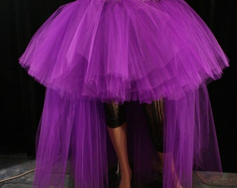 Hi Low tulle tutu skirt Purple Wedding Formal poofy trail Adult bridal bustle dance prom costume - You Choose Size - Sisters of the Moon