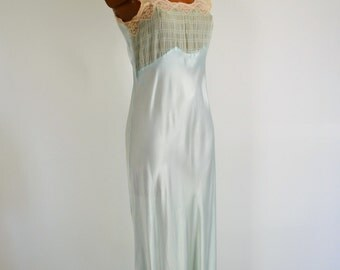 Blue Liquid Satin Vintage 30s Bias Nightgown D'Allairds Coast to Coast S M