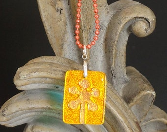Flower Gold Carved Dichroic Glass Pendant - FREE SHIPPING!