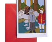 """Valentine's Day Card, Blank Inside with Red Envelope, 4.25"""" X 5.5"""" Theme: Couple, Love, Engagement, Anniversary, Bear + Wolf, Birthday"""