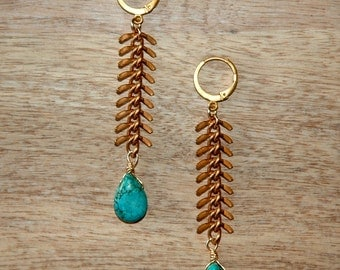 Long Gold Chain Earrings / Gold Turquoise Earrings / Blue Gold Fish Bone Earrings / Brass Fish Bone Chain with Turquoise Gemstones