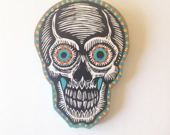 Skull Woodblock Print Painting, Made to order skull print on wood, hand painted skull wall art