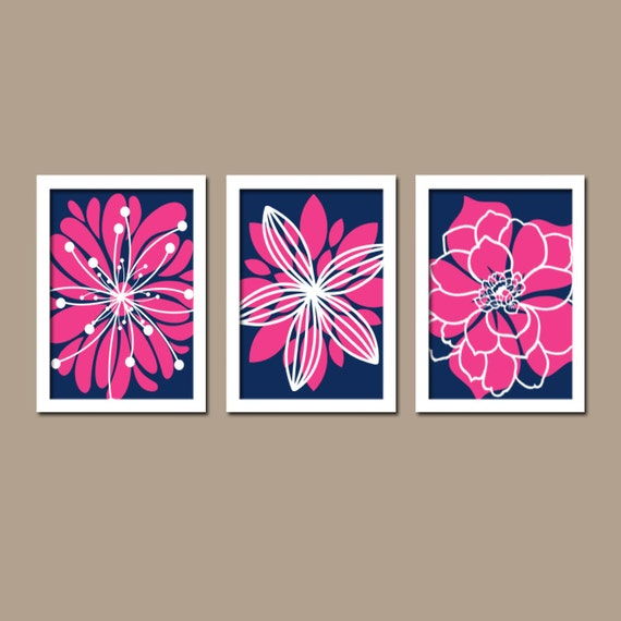 Navy Blue Hot Pink Bedroom Pictures Bathroom Artwork by ...