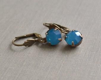 Caribbean Blue Opal Rhinestone Earrings, Antique Brass Lever Back, Swarovski Caribbean Blue Opal Beach Earrings