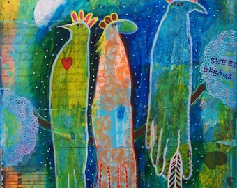 Mixed media birds painting, Sweet Dreams, whimsical art