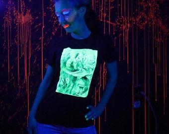 Glow in the Dark Hookah Smolking Caterpillar Screenprint T-shirt Ladies S M L XL