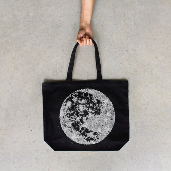 Moon Tote Bag - full moon screenprint on black cotton canvas bags - astronomy tote | lunar print