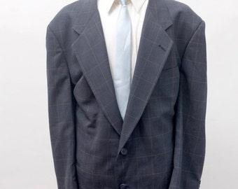 Men's Blazer / Vintage Pierre Cardin Plaid Jacket / Size 52 XXL