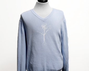 Men's Sweater / Gap Blue V-Neck Upcycled with Screen Printed Tree / Size Large