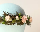 Natural Flower crown, Bridal head wreath, Boho wedding headpiece, pink floral head piece - MARLENA
