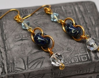 Gold plated copper chainmaille boro glass dangle french wire Swarovski crystal earrings