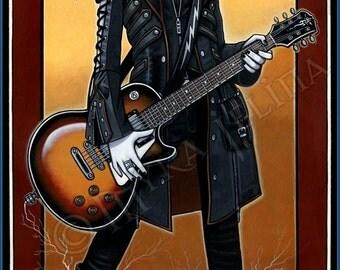 SALE Nika Gothic Angel Rocker Chic Fairy Guitar Musician Original Acrylic Painting
