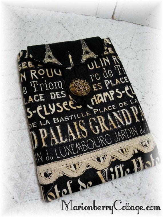 Kindle Nook Kobo Sleeve Cover French Subway words Paris Eiffe tower Black ECS