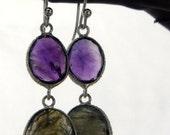 Silver Purple Amethyst and Labradorite Smokey Earrings - 925 Silver - February Birthstone Jewelry French Hook Earrings