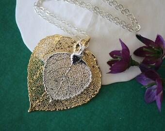 Double Aspen Leaf Necklace, Real Aspen Leaf Necklace, Double Real Aspen Leaves, Silver Leaf, Gold Leaf, Real Leaf, DLC77