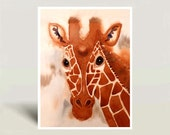 Giraffe art - Watercolor painting giclee print - Animal painting Zoo animal poster African animal Giraffe illustration Geometric - 9x12 A