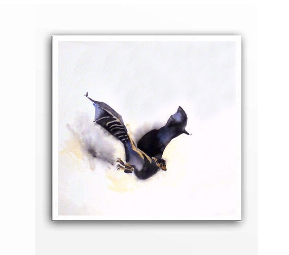 Bat Art - Watercolor Painting Archival Print - Flying bat painting Animal art Bat art Bat painting Woodlands black white - 10 x 10 IN A