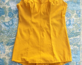 Vintage 60s swimsuit, Carol Brent, golden yellow one piece, skirted high waist playsuit romper, medium, 38 bust