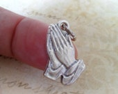Praying Hands Charm, Rosary Parts, Catholic Jewelry Supplies