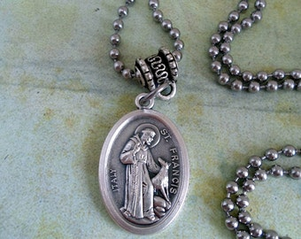 St. Francis of Assisi, Patron Saint of Animals and Pets, Holy Medal Necklace, Catholic Jewelry