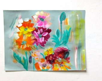 Pretty Poppies acrylic painting on rice paper